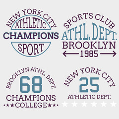 athletic nyc logo typography, t-shirt graphics. Vector illustrat