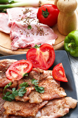 Foto op Aluminium Assortiment the preparation of meat and vegetables for a meal