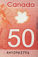 Close up of 50 Canadian dollars
