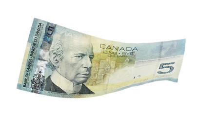 Canadian 5 Dollar, isolated on white