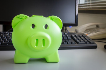 Green pig piggy bank