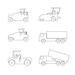 car  icon  truk line set vector Illustration on white background