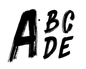 Hand written brush font type alphabet. Detailed vector