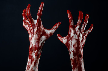 Bloody hands in black background, zombie, demon, maniac