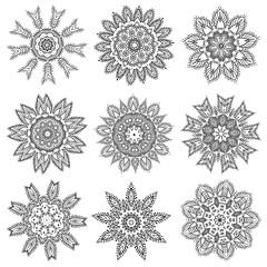 Set Hand drawing zentangle mandala elements