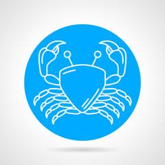 Crab blue round vector icon