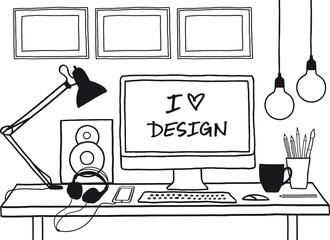 design studio, hand-drawn mock up, vector