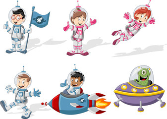 Astronaut characters in outer space suit with a alien spaceship