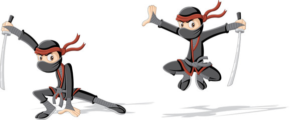 Cartoon ninja with a katana sword