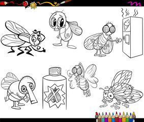 Flies Set Cartoon Coloring Page