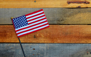 American Flag on pallet wood,
