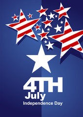 4th July red white stars blue background