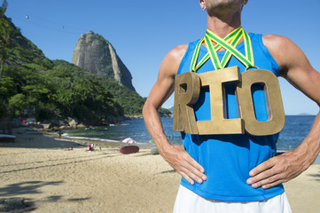 Gold Medal RIO Athlete Standing Sugarloaf Mountain