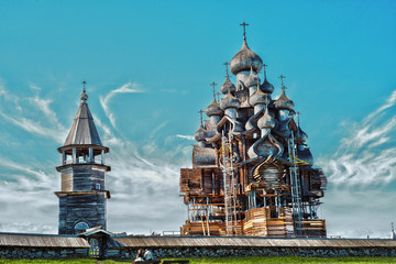 Wooden churches on island Kizhi on lake Onega
