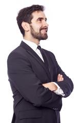 Smiling business man thinking, isolated on white background
