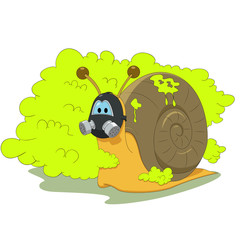 Snail with gas mask
