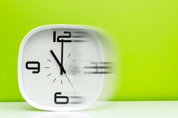 modern white clock in motion