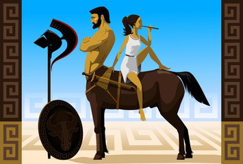 Vector illustration. Centaur and girl playing the flute