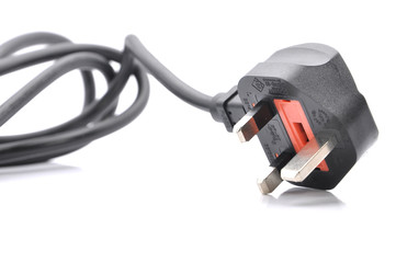 Black Power Cable With Plug And Socket Over White Background