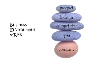 Business Environment & Risk Concept On Rocks And Chicken Egg.