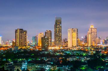 Landscape Night view at the top view of Bangkok