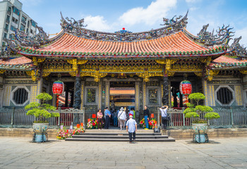 tourist and believers come to Longshan Temple, Taiwan.