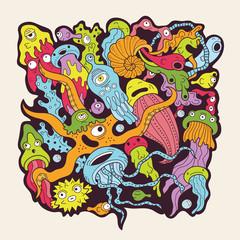Wall Mural - Deep sea monsters