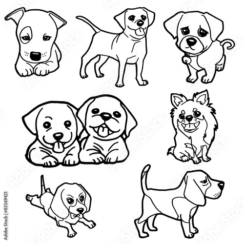 image of puppy coloring book set vector \