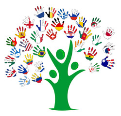 friendship hands tree team flags