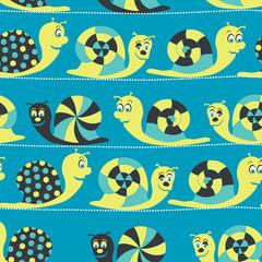 Snail seamless pattern illustration