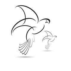 Vector bird Black  isolated with expanded wings on white backgro