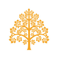 Golden Bodhi tree symbol with Thai style isolate on background