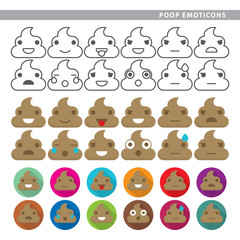 Set of poop emoticons with twelve expressions.