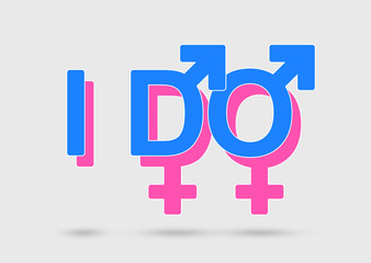 Same sex marriage concept with overlapped gender symbols