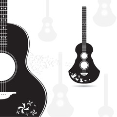 Vector guitar black and  gray on white background