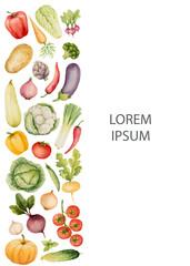 Set of watercolor vegetables.