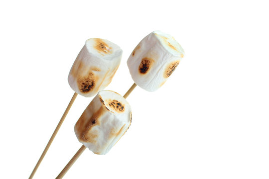 marshmallow on a wooden stick isolated