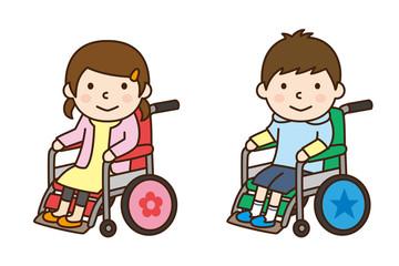 車いす 女の子と男の子