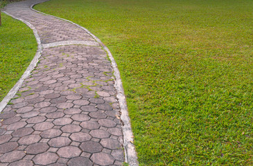 pathway with green grass in park