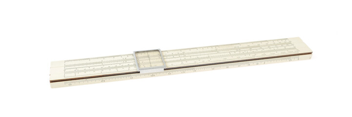 Slide rule isolated on white