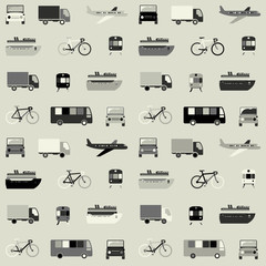 Monochrome seamless pattern with transport icons.