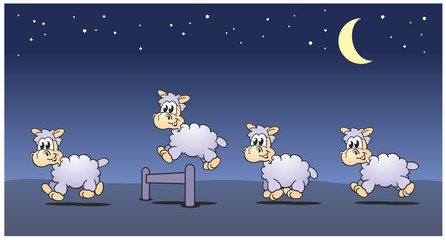 Sheeps Jumping Night