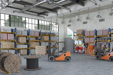 Lagerhalle eines Baustoffhandels