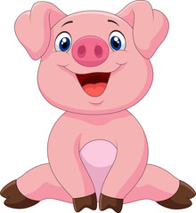 Cartoon adorable baby pig,vector illustration