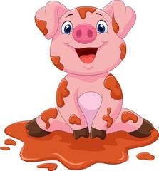 Cartoon cute baby pig, vector illustration