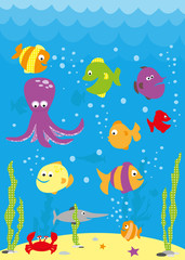 Underwater scene with cartoon fish, crab, octopus and waves