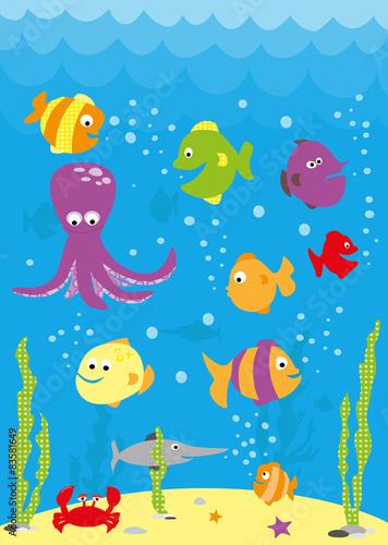 Underwater scene with cartoon fish crab octopus and waves stock underwater scene with cartoon fish crab octopus and waves voltagebd Gallery