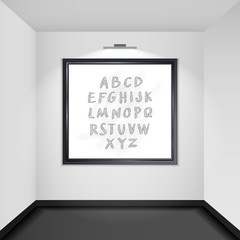 Gallery room interior blank picture frame illuminated vector