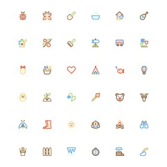 Summer color line set icons.