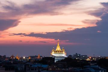 golden mount temple (wat sraket rajavaravihara) at sunset